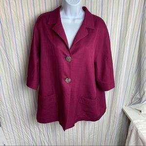 J. Jill Plum Button Short Sleeve Blazer Jacket